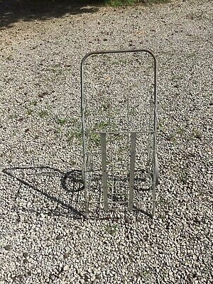 Vintage Metal Rolling Market Grocery Shopping Basket Cart Collapsible 1950s