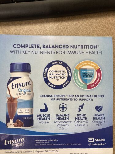 Ensure Coupons 3.00 Off Multipack- 25 Coupons 50 Value Exp 01/01/2022 - $12.00