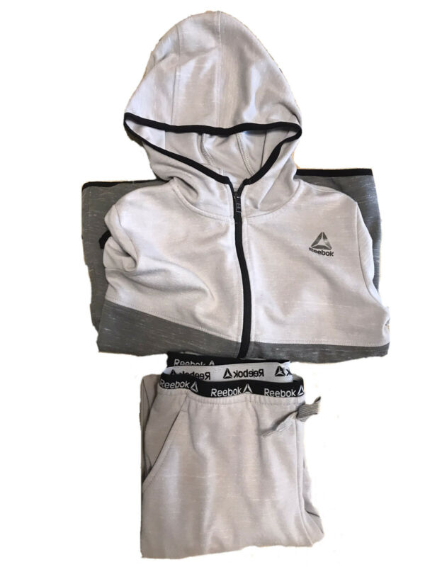 Boys Grey Reebok Sweatpants And Sweatshirt Set XL