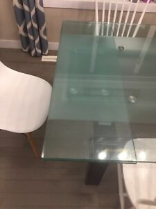 Glass table. Kitchen table