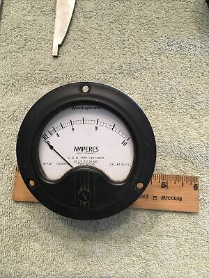 Vtg Military Usn Wwii Ww2 Radio Panel Meter Westinghouse Amperes Rf 0-10 Me466