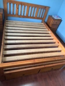 Queen size bed suite with mattress and bedding