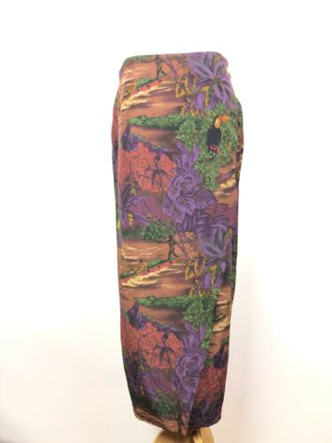 Vintage Anne Pinkerton Print Wrap Skirt Tropical Scene Purple Green Red Silk L