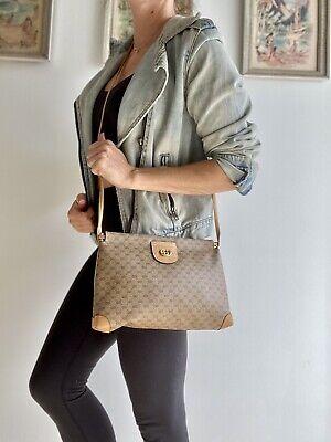 Authentic Vintage GUCCI Brown Monogram GG purse Shoulder BAG Crossbody Clutch