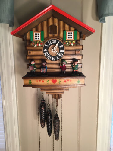 Vintage Musical Cuckoo Clock with Rotating Band Members & 3 Weights Germany