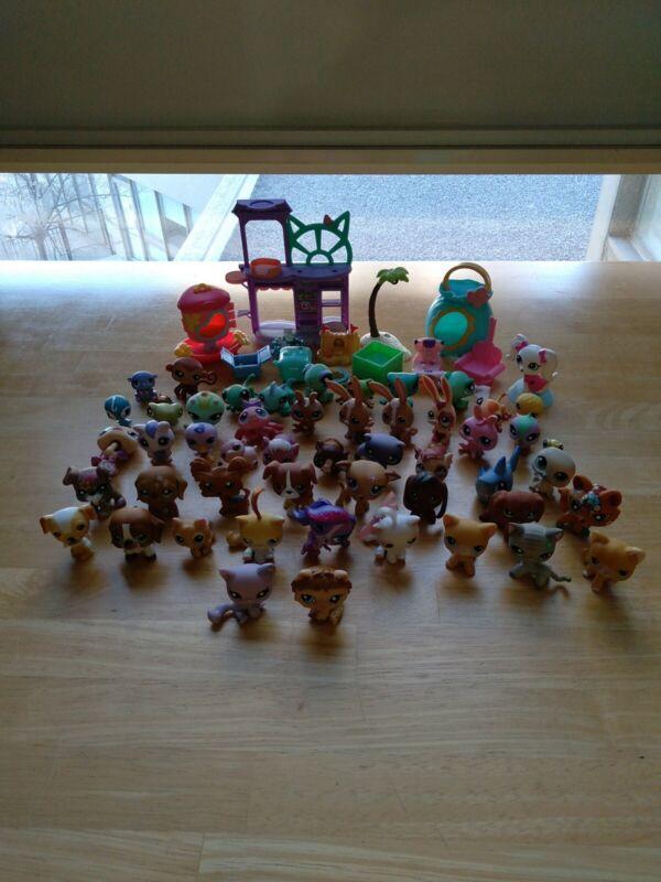 Mixed Lot 51 Piece Littlest Pet Shop Dog, Cats, Reptiles & Accessories