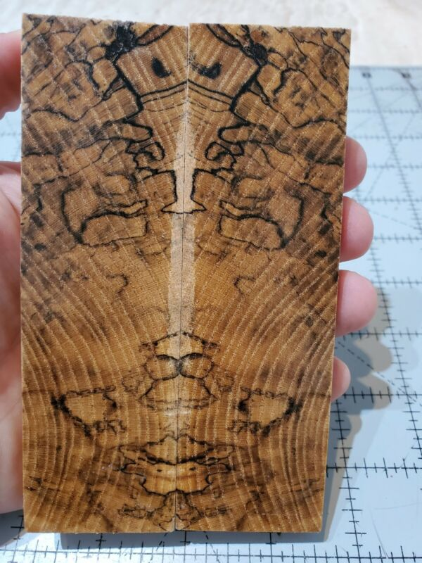 """Stabilized spalted hackberry knife scales, 5.25 X 1.5 X 0.375"""""""