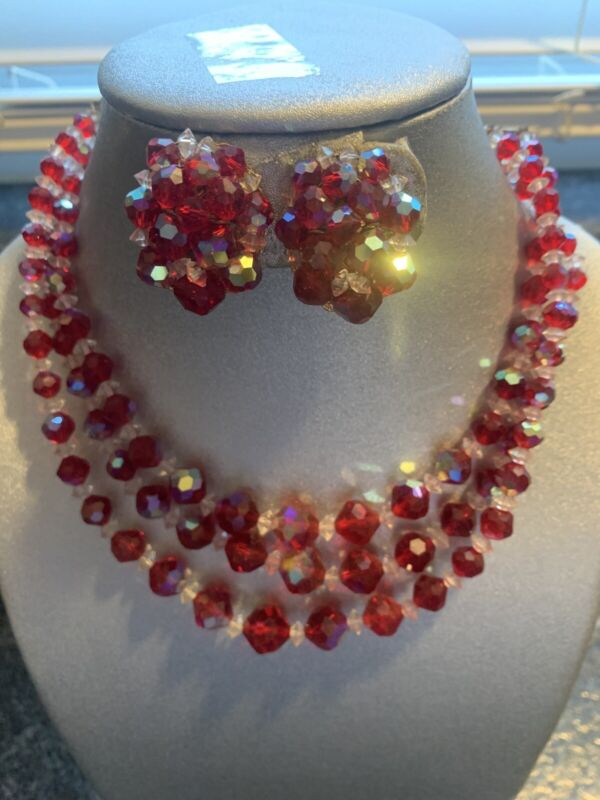 Vintage Red Crystal  Bead Necklace Earring Set Clip on AB Aurora Borealis