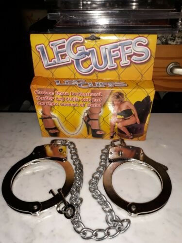 REAL Legcuffs NICKEL PLATED Double Lock LEG IRONS Shackles Leg Cuffs  - $25.00