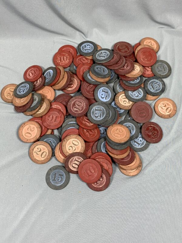 110 Vtg Poker Chips Embossed Numbered