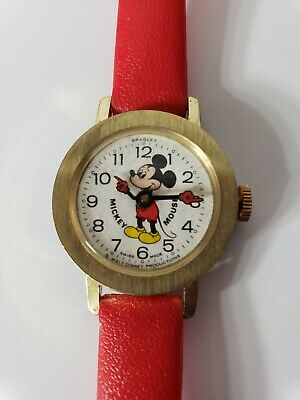 Vintage Mickey Mouse Swiss Made Watch Bradley Beautiful base metal 023 Red Band