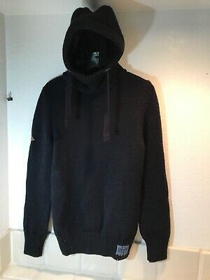 SUPERDRY HOODIE HOODY SUPER DRY SWEATER CREW NECK Stealth Navy Blue Black Label