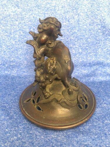 Antique 18/19 Century Chinese Bronze Censer Cover
