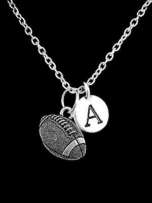 Sports Mom Charm - Choose Initial, Football Sports Gift Mom Charm Necklace