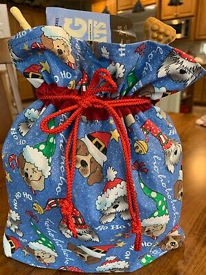Puppy Handmade Custom Christmas Designer Fabric Gift Bag, Hostess Pet ()