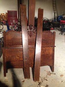 Tiger oak double bed antique
