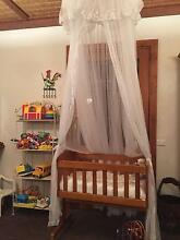 Baby cradle with mattress, broderie anglaise quilt and canopy Maslin Beach Morphett Vale Area Preview