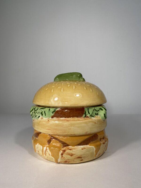 "Vintage 7"" Double Cheeseburger Ceramic Porcelain Jar Big Mac Jalapeno Pepper"