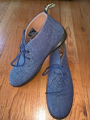 Dr Martens Perth 13824450 Faded Denim Canvas Suede Loafer Boat Shoes Leather