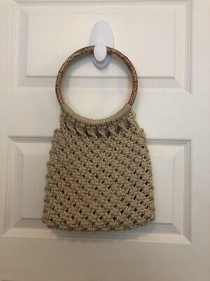 Vintage Macrame Purse Handbag Bamboo Handles Boho Bamboo Vintage Handbag
