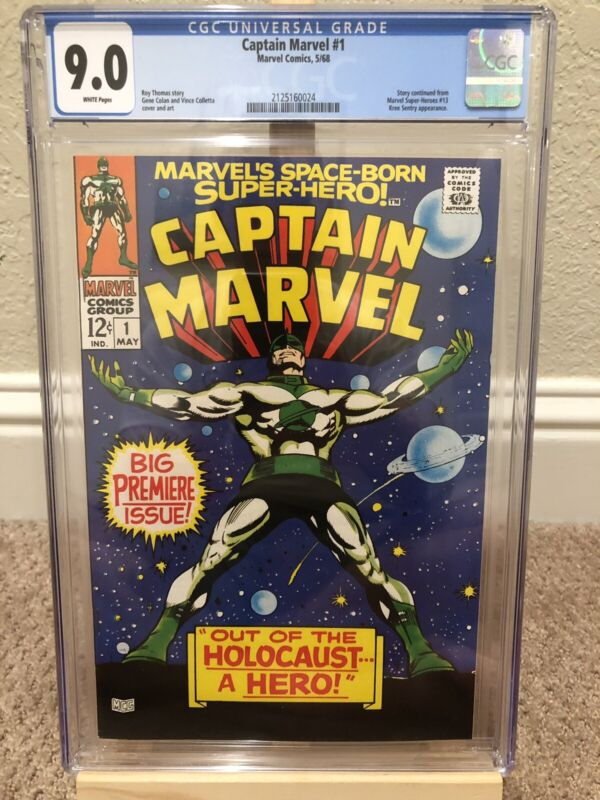 Captain Marvel 1 CGC 9.0 GORGEOUS COPY! WHITE Pages.
