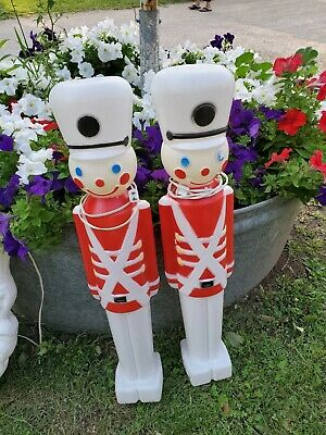 "2 Vintage 31"" Plastic Blow Mold Christmas Toy Soldier Nutcracker Yard Decor"