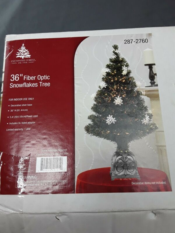 "Vintage 36"" Fiber Optic Snowflakes Tree Electric Colored Lighted Base Christmas"