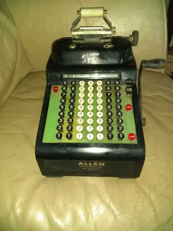 Vintage R.C. Allen 75 Calculator Adding Machine - Antique - Complete