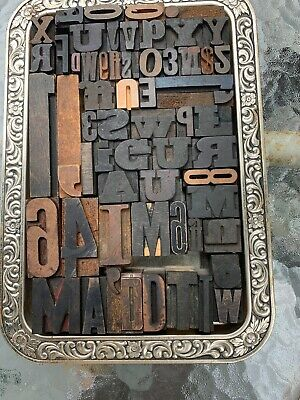 Tray Of About 60 Assorted Vintage Letter Press Tiles