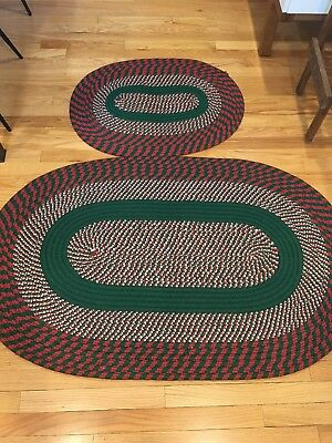 Braided Rug Christmas Throw Rug Red Green White Oval VINTAGE Holiday Set Pair - White Throw Rug