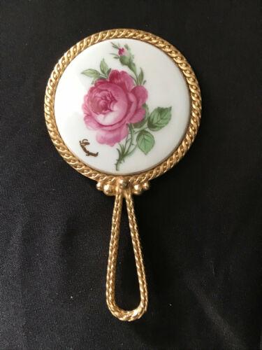 Vintage Limoges Hand Mirror Floral Design Gold Tone Handle