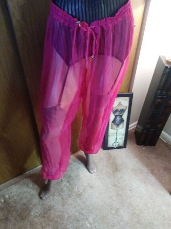 Sexy HAREM PANTS PINK MED SHEER SEE-THROUGH, HALLOWEEN, FUN SHELTERING AT HOME