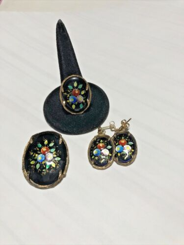 Antique 14kt Yellow Gold  French Enamel Earrings, Pendant & Ring -  ESTATE FIND