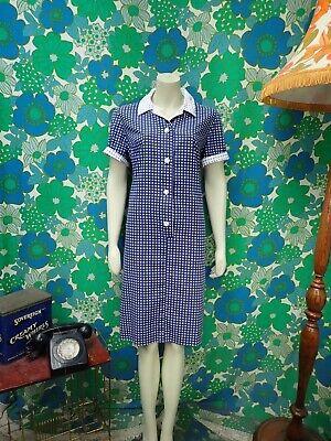 AD79 Vintage 1960's Horrockses Fashions Dress Cotton Blue White Ditsy Size 14 16