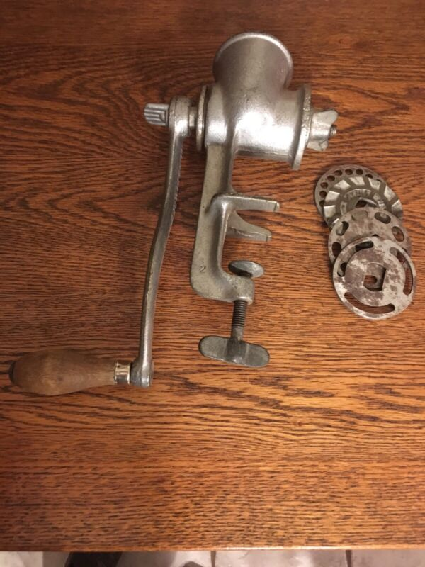 Vintage Climax 51 Meat Grinder 4 Blades Wood Handle