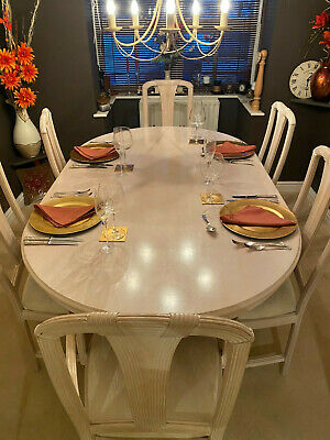 Large Italian Leonardo style dining table & 6 chairs.