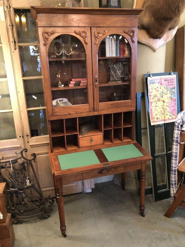 1870s Drop Front Walnut Secretary Desk Bookcase Original Casters Square Nail