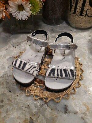 GEOX Respira Girls Sliver Cork Sandals Loop EU 28 US 11 Toddler Italy EUC