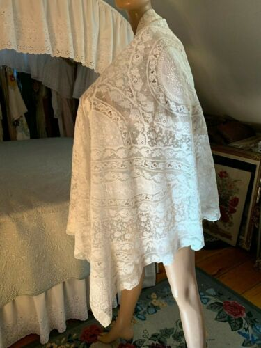 Lovely Large Antique Normandie Lace Shawl Tablecloth Mixed Lace Hand Embroidery