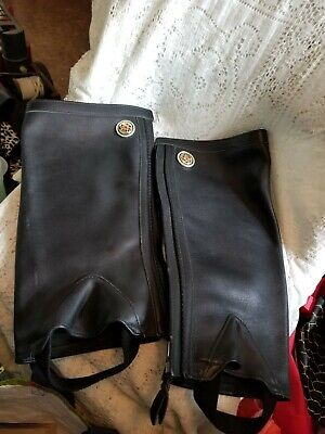 Spats, Gaiters, Puttees – Vintage Shoes Covers Ladies Leg Motorcycle Leather Spats w/ Decorative Round Medallion No Size Stated $44.00 AT vintagedancer.com