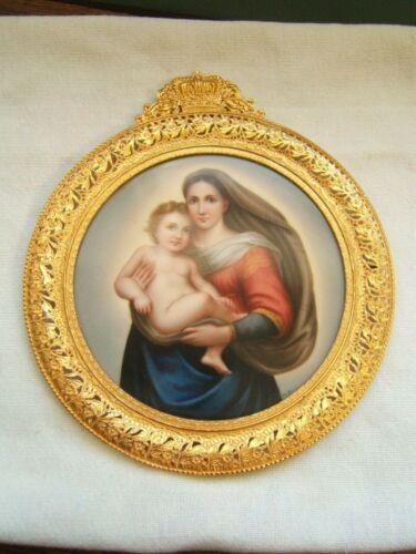 ANTIQUE PORCELAIN PLAQUE MOTHER & CHILD FANCY GOLD GILT FRAME GERMAN