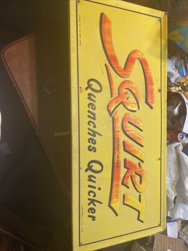 Vintage Early Rare Squirt Sign Dated 1947 M-75 A.A.W