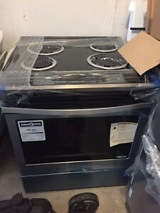 whirlpool brand new stainless steel slide in stove for sale