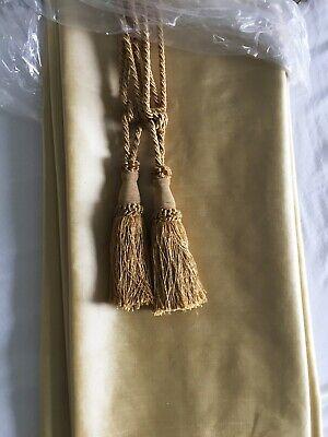 Used Pair Textured Dupioni Silk Curtain Maybe Biscotti Gold Pearl & 2 Tie Backs Textured Silk Curtain