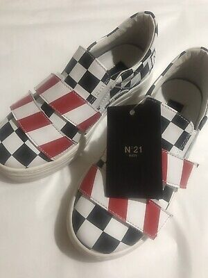 N°21 In ITALY Girls Kids Shoes Sneakers Leather Red Black White Sz 31 NEW $185