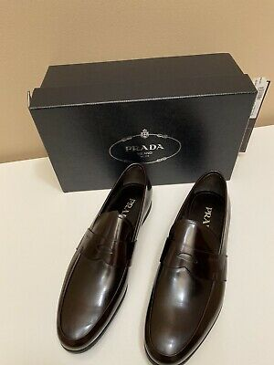 Men's Prada Brown Leather Loafers Mens 10.5.  SOLD OUT in stores NIB