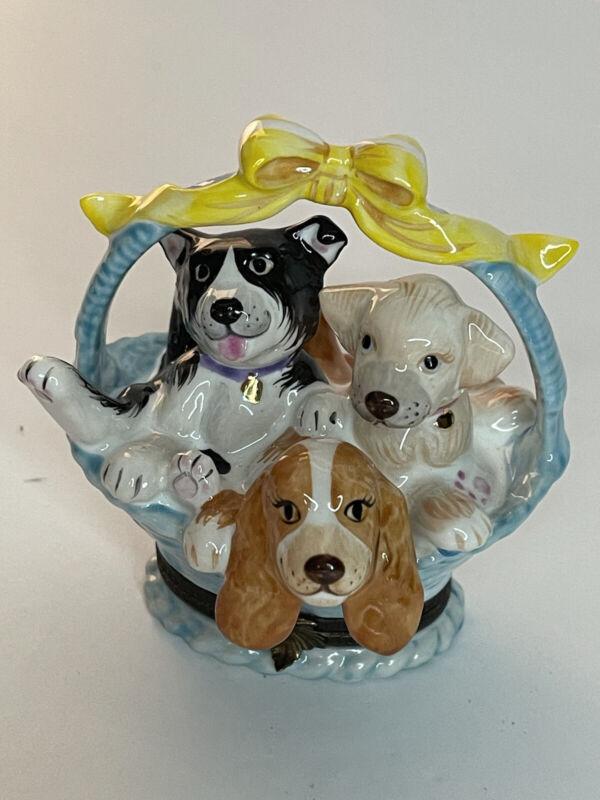 Studio USA Dog basket porcelain trinket box