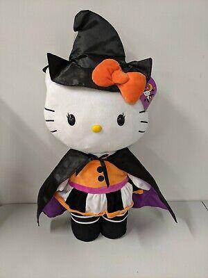 "Gemmy Hello Kitty Halloween Witch Cat 24"" Plush Door Greeter Stuffed Animal NWT"