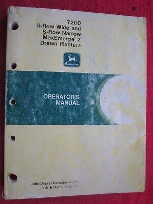 1987 John Deere 7200 Maxemerge 2 Drawn 6-rw 8-rn Planter Operators Manual K7