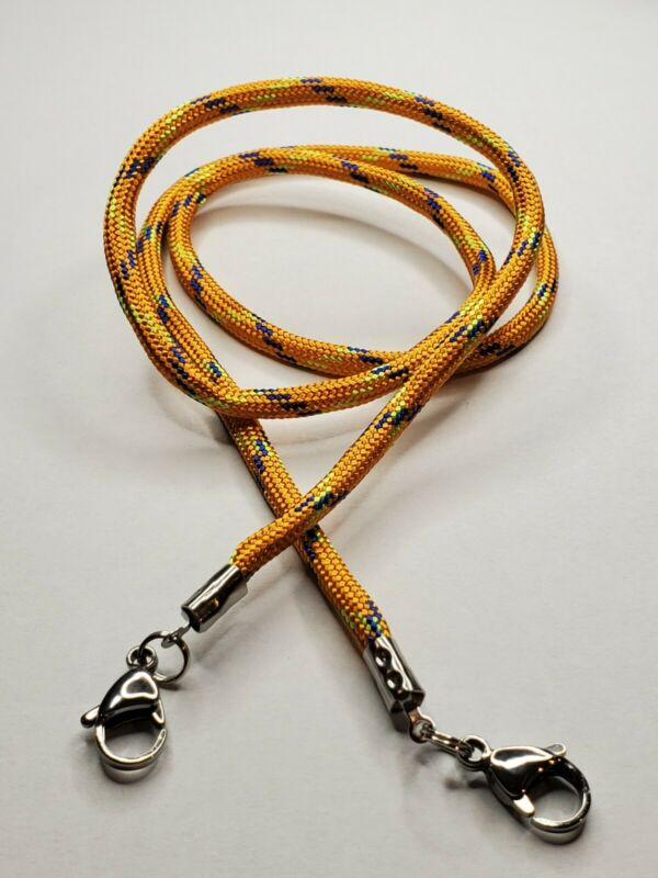 """Orange with blue and yellow Paracord Mask Lanyard 24"""" with 15mm lobster clasp"""